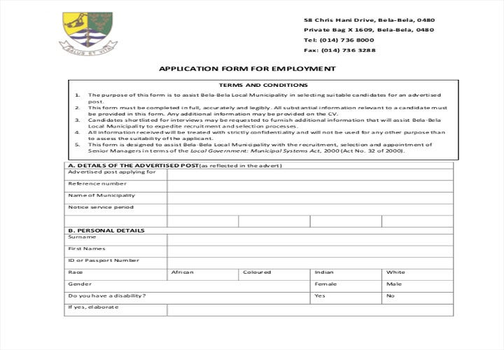 job application form for senior