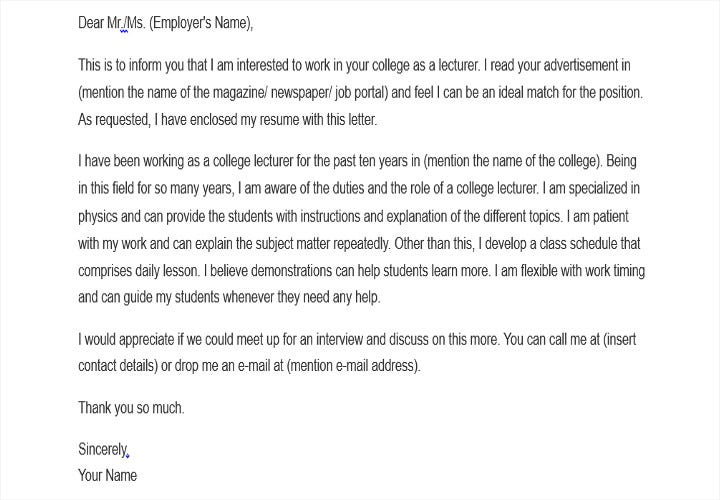 job application letter for college teacher