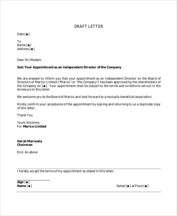 Draft Appointment Letters   7+ Free Sample, Example Format