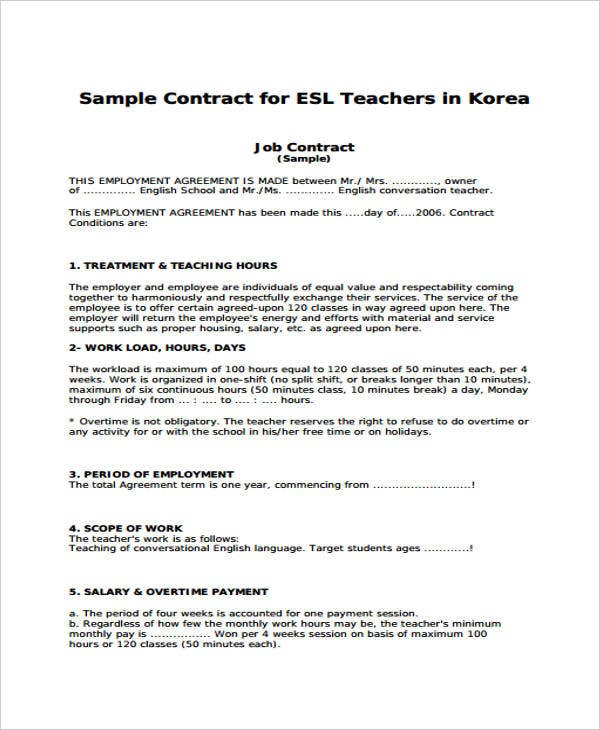 9 Teacher Contract Templates Free Premium Templates