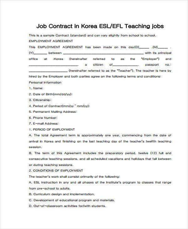 9  teacher contract templates