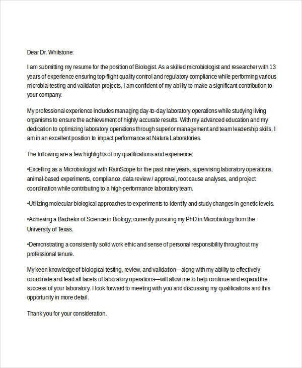 Cover Letter For Job Regarding Cover Letter Biology