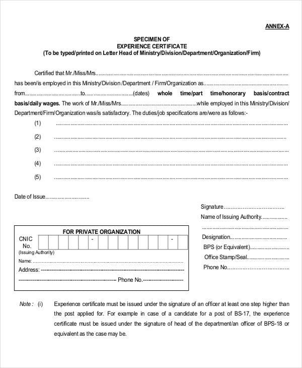 job experience certificate