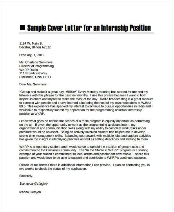 Training Internship Cover Letter