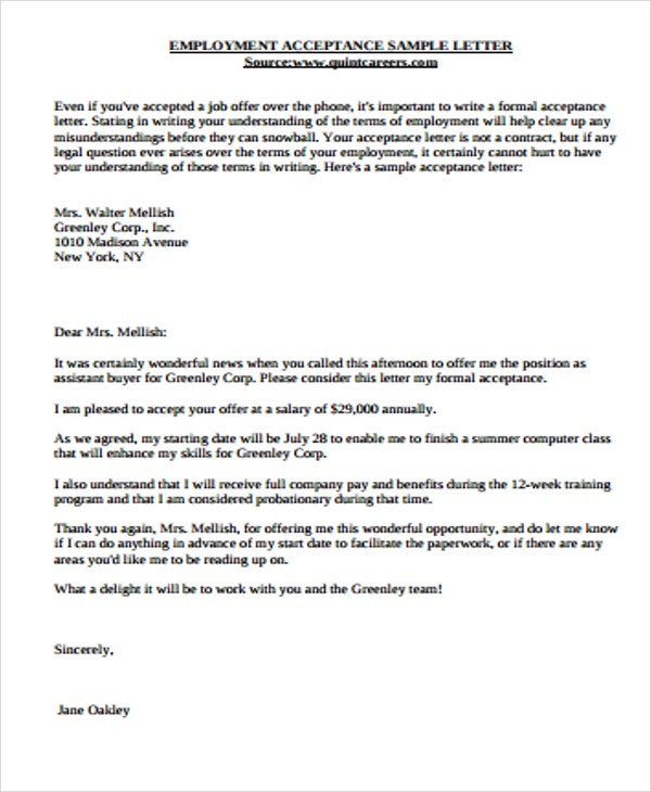 job offer acceptance letter - 54 Sample Thank You Letter Business Opportunity Good