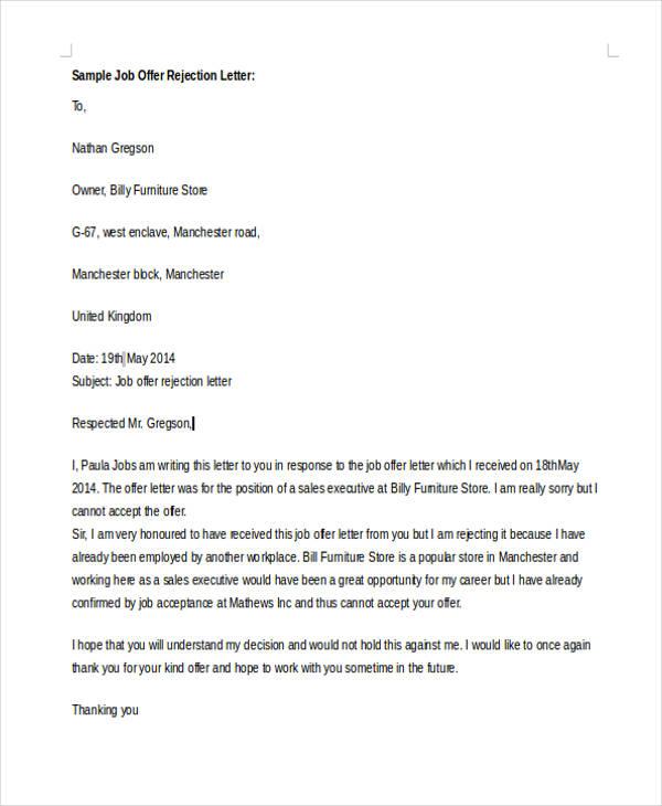 10 Standard Rejection Letter