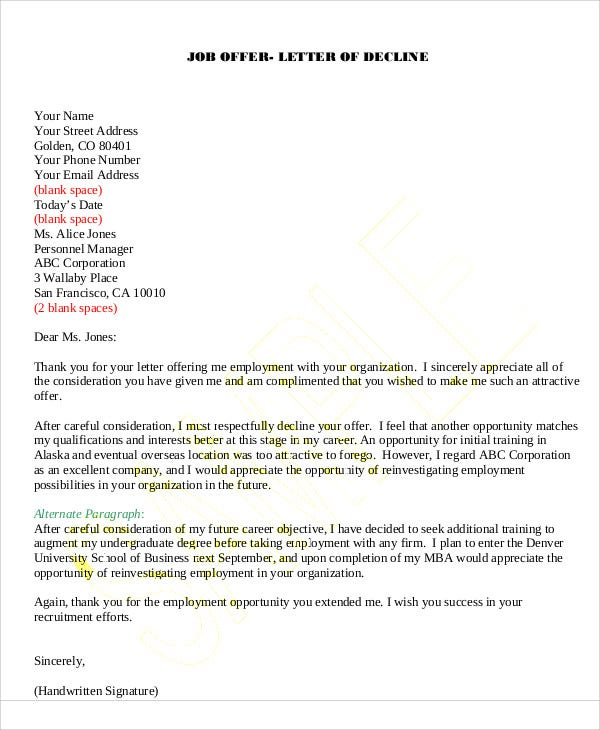 9 Rejection Thank You Letter Free Sample Example