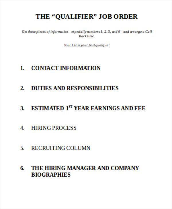 job order for qualifier
