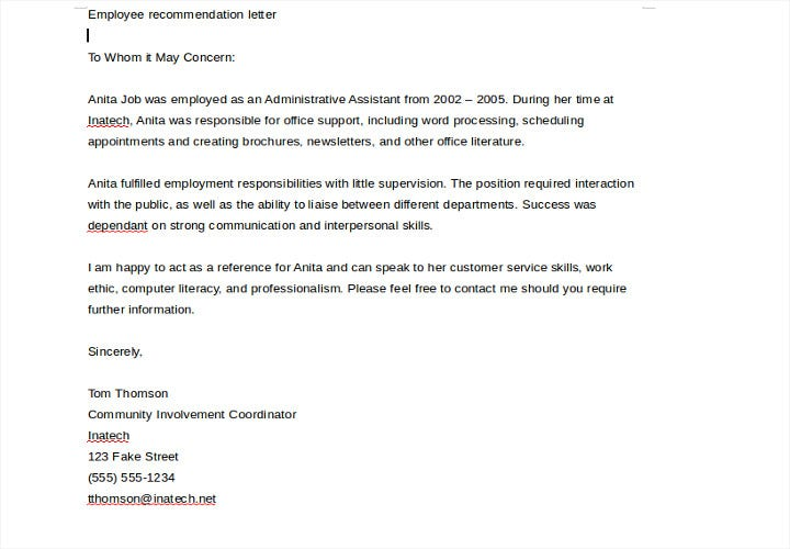 job recommendation letter for employee