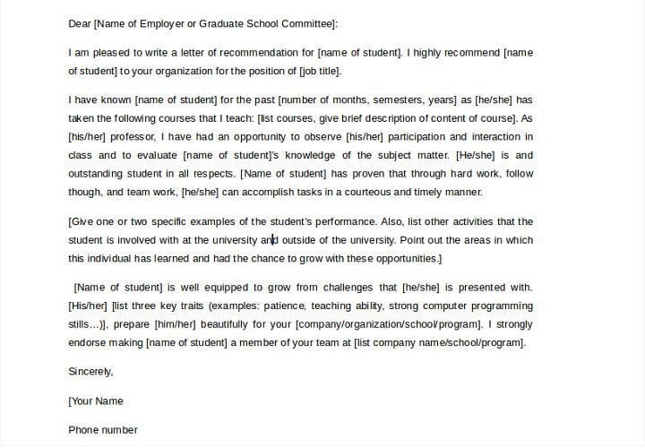 job recommendation letter for student