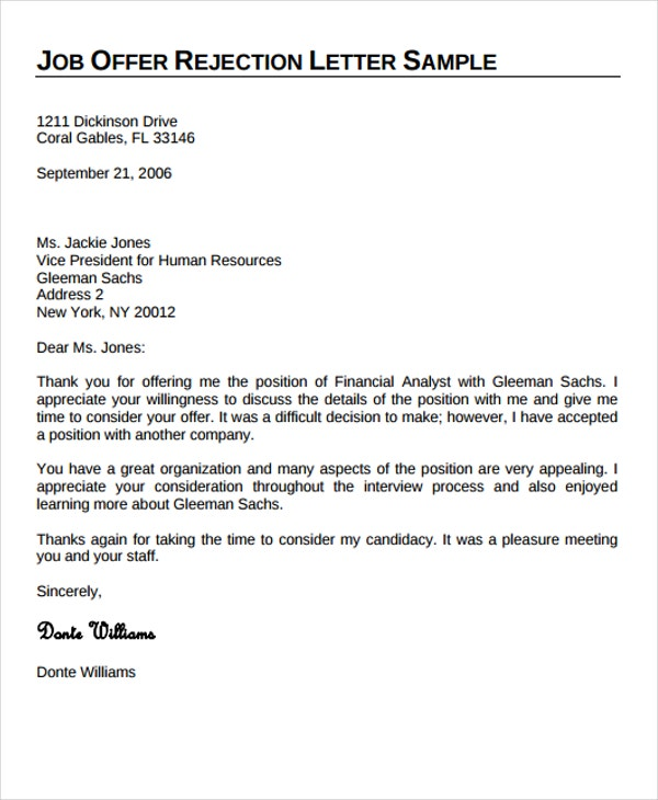 9+ Professional Rejection Letter - Free Sample, Example Format