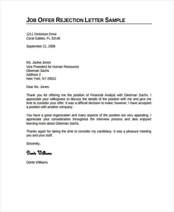 Professional Rejection Letter -10+ Free Word, PDF format ...