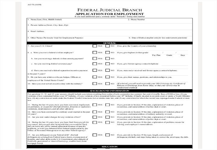 judiciary application for employment form