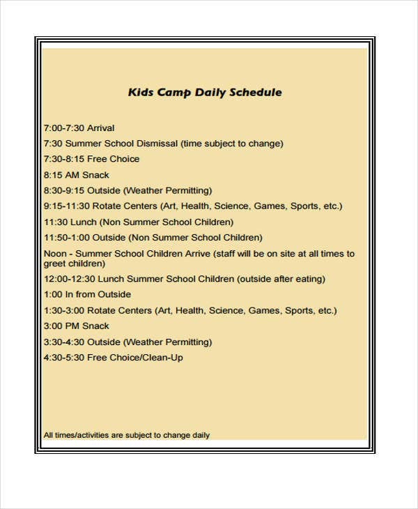 9 kid s schedule templates sample examples free for Daily schedule template for students