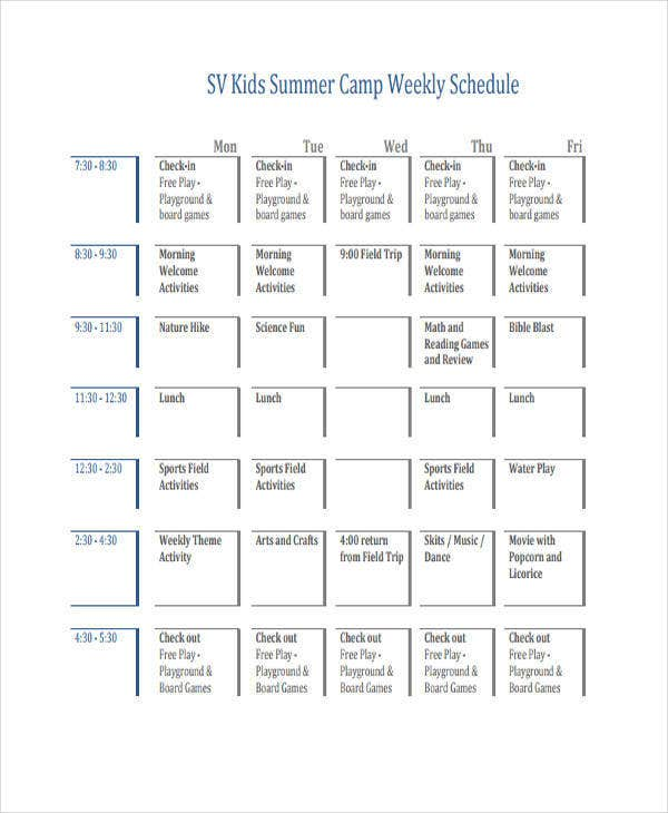 kids weekly schedule