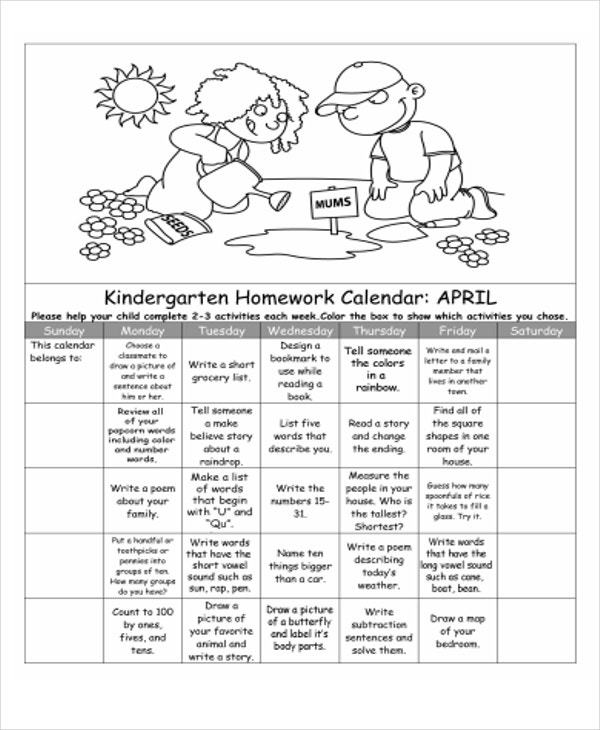 Homework Calendar Templates  Free Sample Example Format