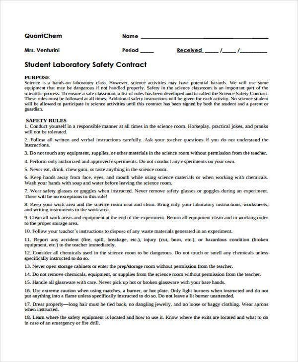 Safety Contract Templates - 9+Free Word, Pdf Format Download