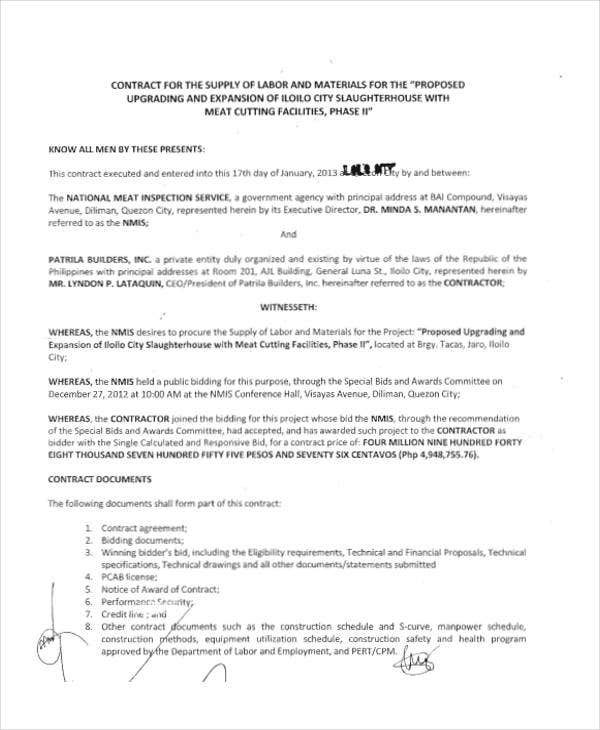 Supply Contract Templates  Free Word Pdf Format Download