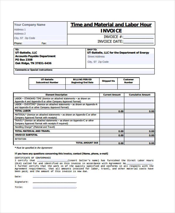 labor invoice