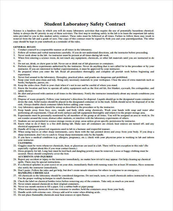 Safety Contract Templates  Free Sample Example Format Download