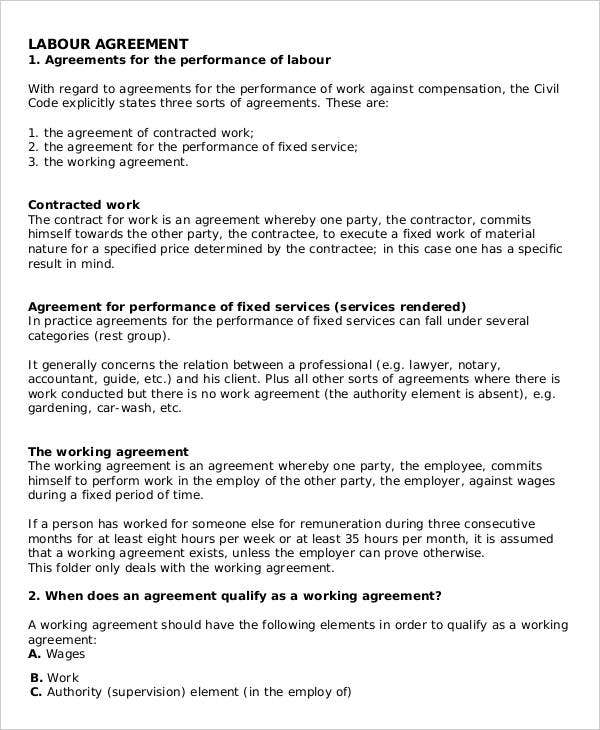 Labour Contract Templates 5 Free Word Pdf Format Download Free