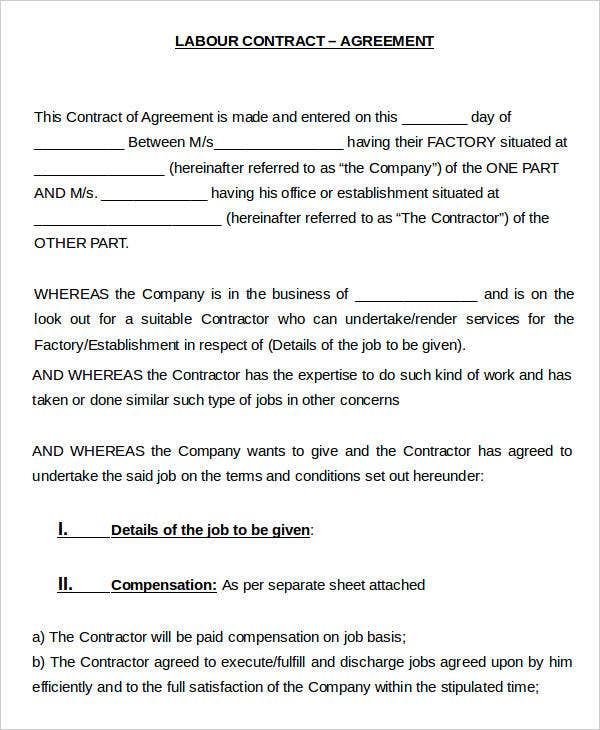 Labour Contract Templates   Free Word Pdf Format Download  Free
