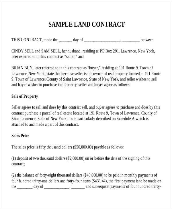 9 Land Contract Templates Free Sample Example Format