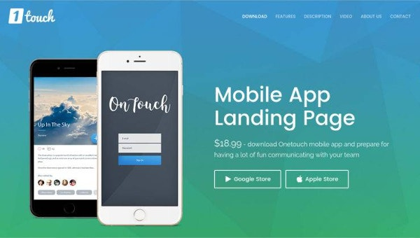 14 best mobile app landing page templates free. Black Bedroom Furniture Sets. Home Design Ideas