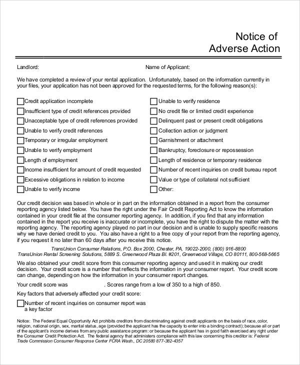 Adverse Action Notice >> Adverse Action Notice Templates 5 Free Word Pdf Format Download