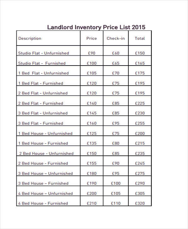 Landlord Price List  Inventory Sheets Printable
