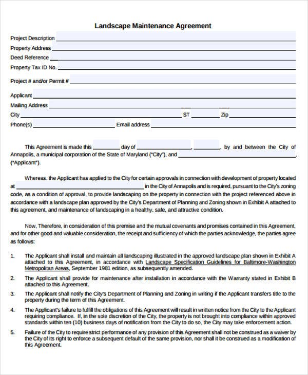 Maintenance Agreement Templates - 9+ Free Sample, Example Format ...