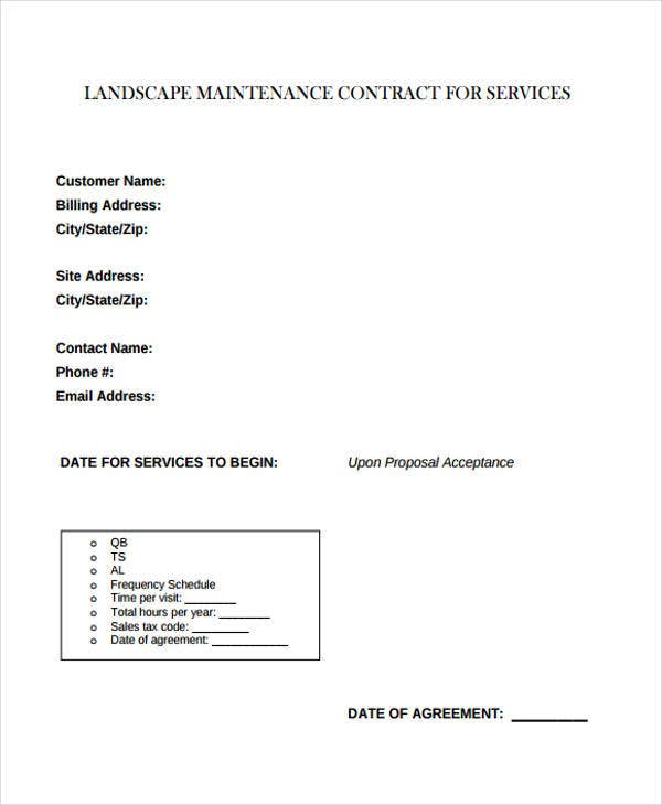 9 maintenance contract templates free sample example for Garden maintenance contract template