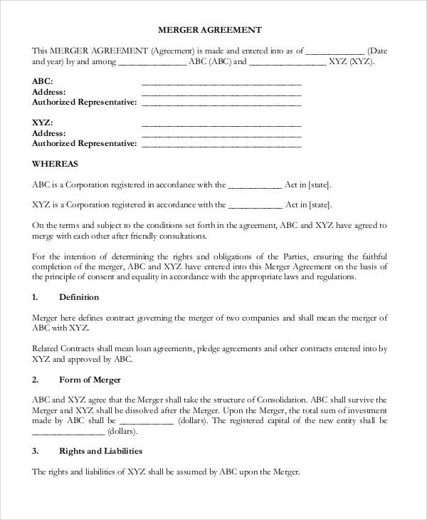 9 Merger Agreement Templates - Free Sample, Example Format ...
