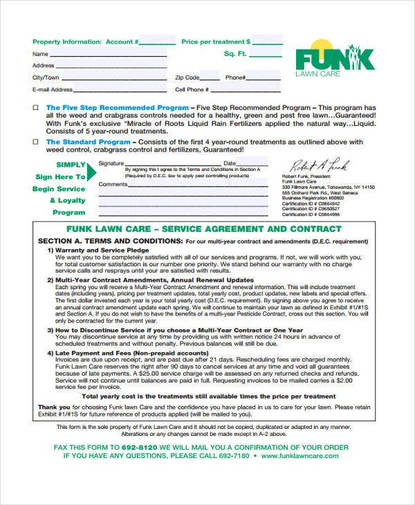 Amazing Lawn Service Contract Templates Free Sample Example Format