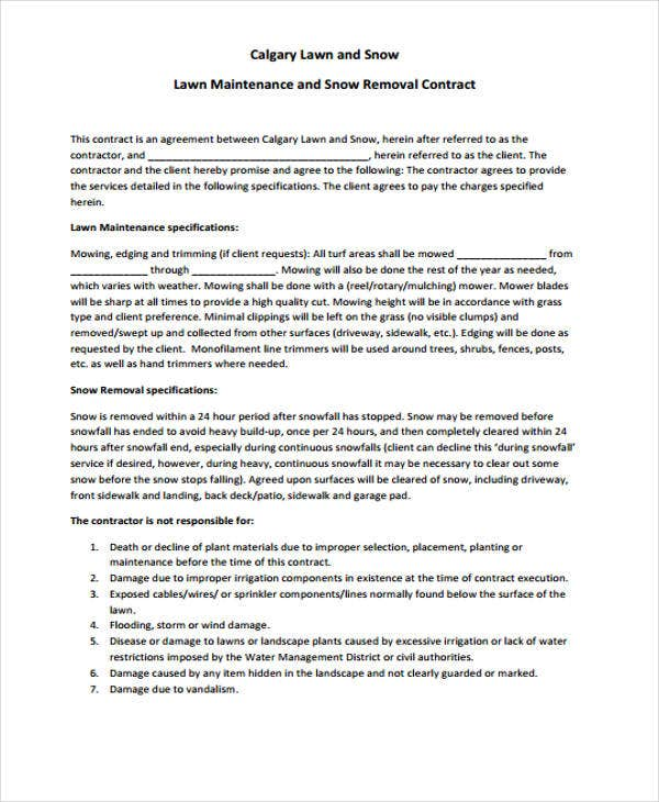 6 Lawn Service Contract Templates Free sample Example Format – Snow Plowing Contract Template