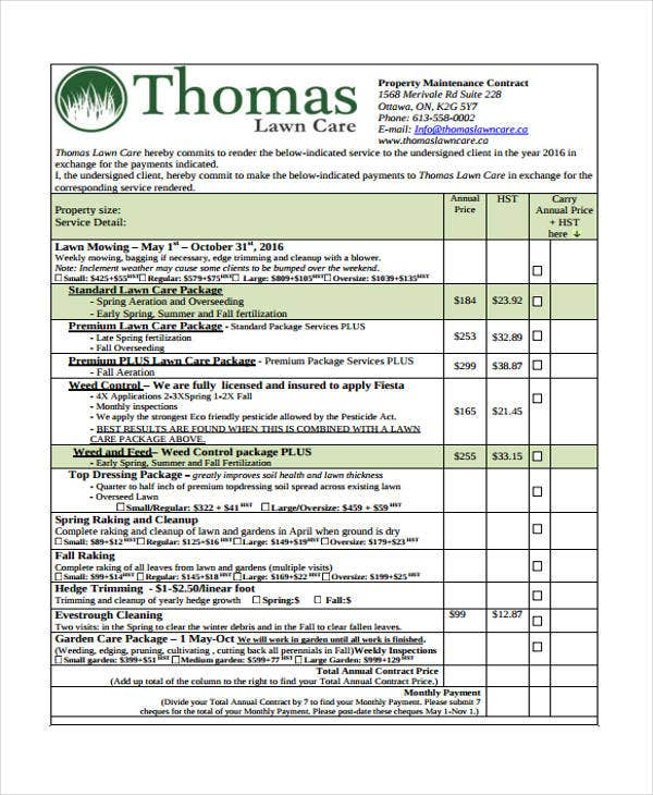 6 lawn service contract templates free sample example format