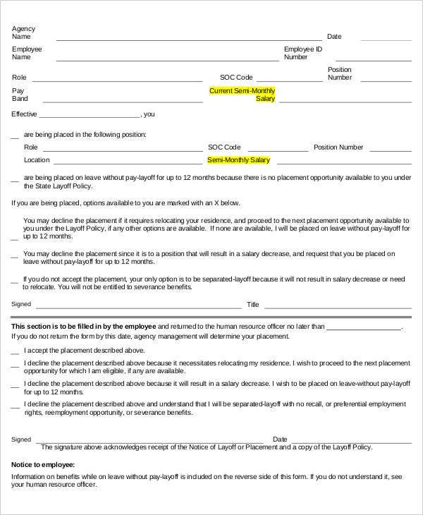 Layoff Notice Templates  Free Sample Example Format Download