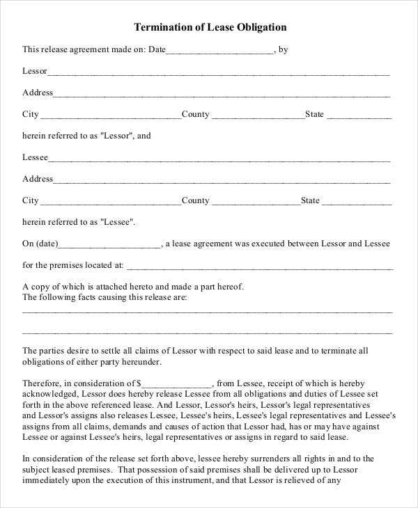 lease agreement termination