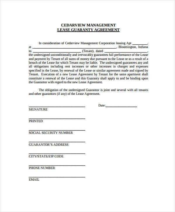 lease guaranty agreement