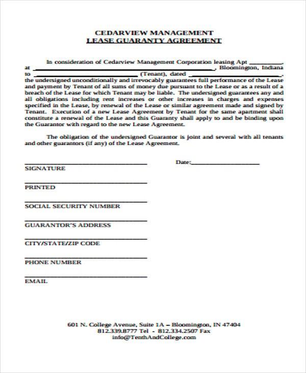 lease guaranty