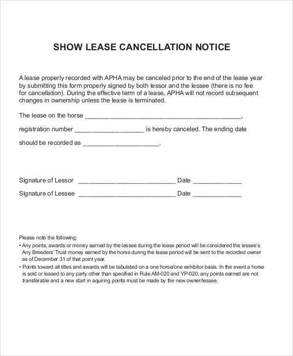 Cancellation Notice Templates   10 Free Word, PDF Format Download