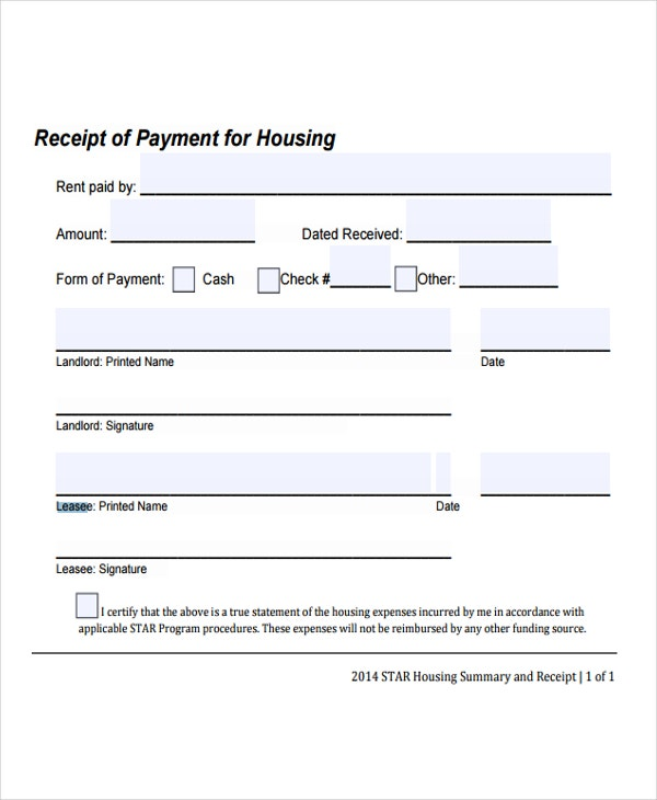 9 lease receipt templates free sample example format download