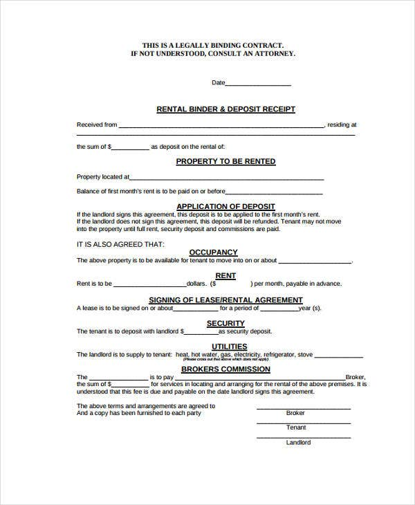 lease agreement deposit