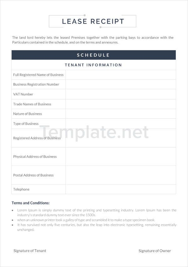 Lease Receipt Templates