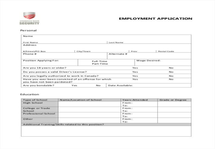 leaving job on application form