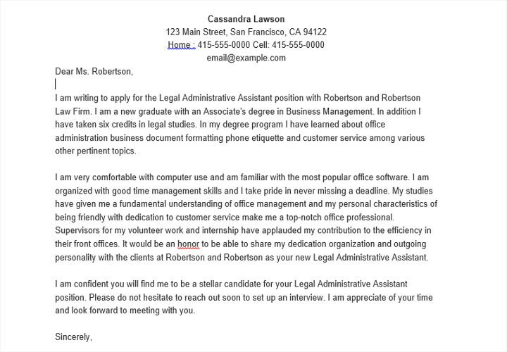 sample template for job application letter as administrative assistant