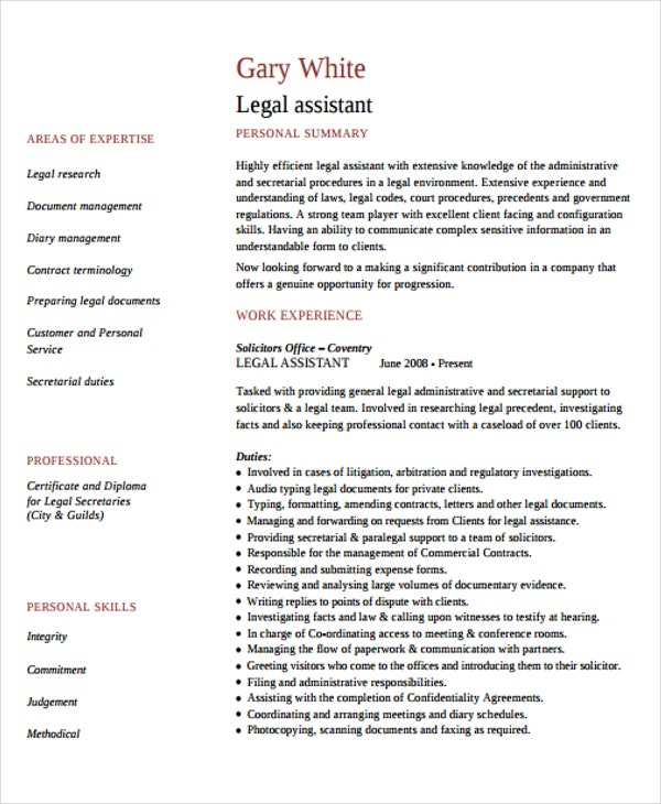 9+ Legal Curriculum Vitae Templates - Word, PDF | Free & Premium ...