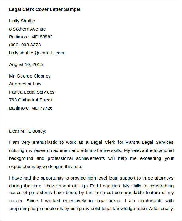7 legal cover letters free sample example format download - Office Clerk Cover Letter