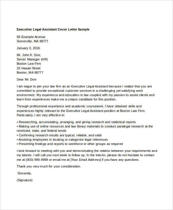 executive legal assitant cover letter - Legal Assistant Cover Letter Sample