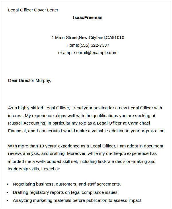 7 legal cover letters free sample example format download free legal officer legal officer cover letter altavistaventures Images